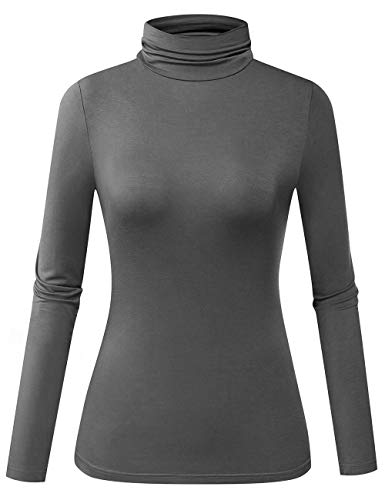 Herou Turtle Neck Top Stretch Pullover for Women Tile Grey X-Large
