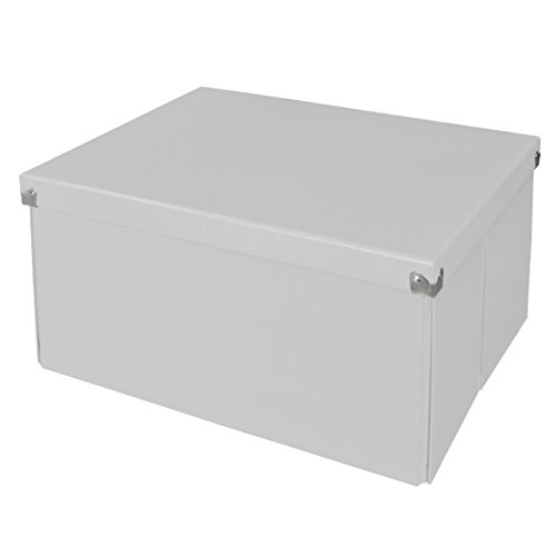 Pop n' Store Decorative Storage Box with Lid - Collapsible and Stackable - Large Mega Box - White - Interior Size (14.625''x11.875''x8'') by Samsill