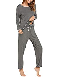 Pajamas Long Sleeve Tops Loose Fit Pj Pants Pj Set for Women