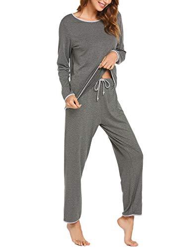Ekouaer Pj Sets Stright Leg Pj Pants Women Pajamas Grey