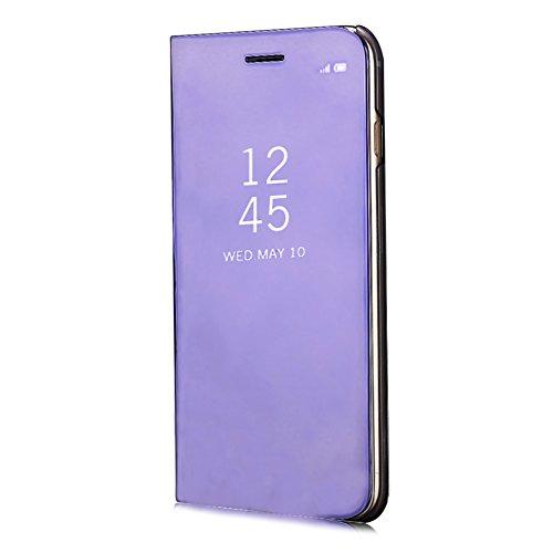 bleu Design Slim Aearl Dur Plus 6s Fit Pc View Plus 6 Mince Clapet Cuir Pour Transparente 6s 6 Plus Iphone Standing Portefeuille Ultra Violet Placage Luxe Coque Plus Miroir Pu rwfqBr6