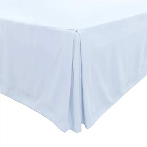 PiccoCasa Pleated Bed Skirt Classic Tailored Styling Dust Ruffled Hotel Quality, 14 Inch - Queen Light Blue