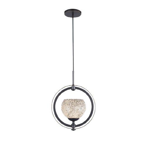 - Woodbridge Lighting 13320MEB-M00WHT Cirque 1-Light Mid Pendant, Metallic Bronze