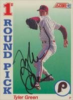 Tyler Green Philadelphia Phillies 1992 Score 1st Round Pick Autographed Card. This item comes with