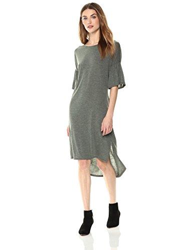 (Painted Heart Women's Bell-Sleeve Sweater-Dress with Back Twist Detail Medium Khaki)