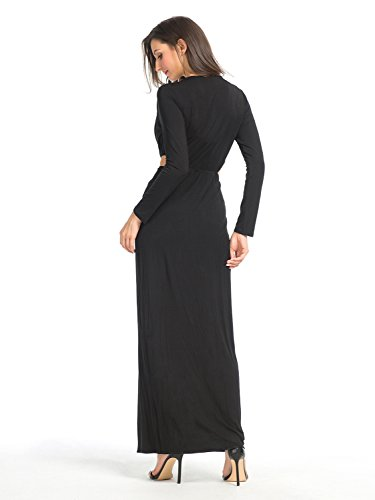 Clothink White V Dress Black Plain Neck Out Black Wrap Front Maxi Cut Women Split rwa1r