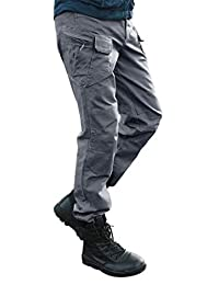 Les umes Men's Cargo Pants Military Tactical Trail Ripstop Combat Work Trousers