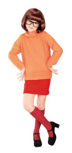 Girls Scooby Doo Velma Kids Child Fancy Dress Party Halloween Costume, L (12-14)