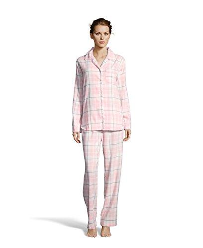 Kathy Ireland Womens Lounge Cotton Button Down Plaid Pajama Shirt and Pants Set Ivory Small - Ivory Lounge Set