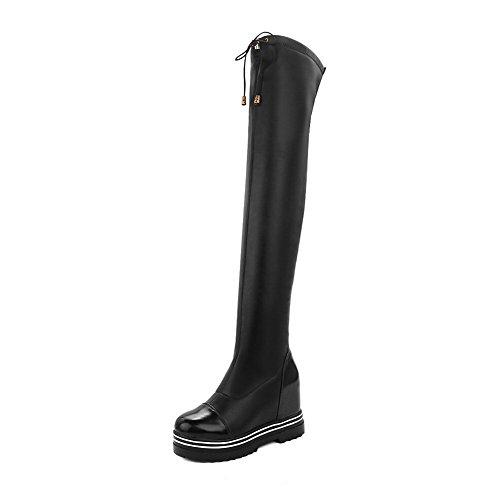 VogueZone009 Damen Niedriger Absatz Hoch-Spitze Ziehen auf Gemischte Farbe Stiefel, Weiß, 36