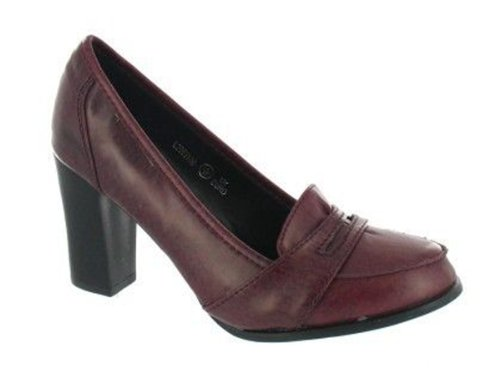Chic Feet Womens Burgundy Heeled Office Work Evening Court Loafers Shoes G5g3ue