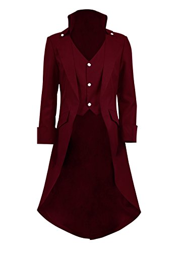 Very Last Shop Boys Gothic Tailcoat Jacket Black Steampunk Victorian Long Coat Vampire Costume (Burgundy, 8)]()