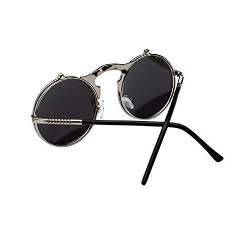 uv Steampunk Lens Vert Flip De Meijunter Rond Vue Argenté Anti Soleil Cadre Lunettes Vintage La Style Up Double Mode Métal En tUxgz