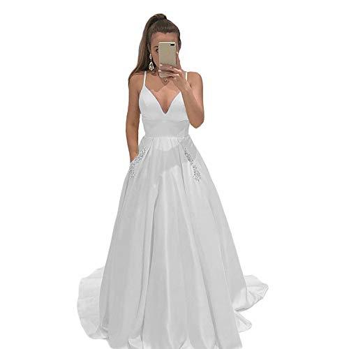 LEJY Women's Satin Beaded Formal Evening Prom Dresses Spaghetti Strap Long Ball Gowns Pockets 2019 White 6