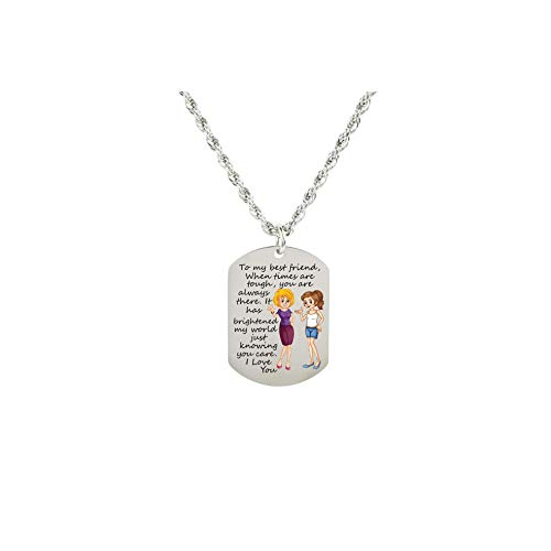 Pink Box Sentimental Tag Necklace to My Best Friend - Girl and Girl - Silver
