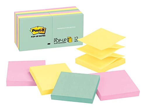 Post-it Pop-up Notes, Green, Pink, Canary Yellow, Blues, Unique Adhesive Designed for Paper, Designed for Pop-up Note Dispensers, 3 in. x 3 in, 12 Pads/Pack, -