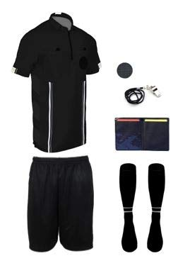 (New! 2018 Pro Soccer Referee Package (7 Piece) (Black, Adult Medium))