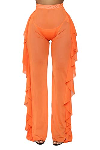 docotor akio Women Sexy See Through Sheer Mesh Ruffle Pants Perspective Swimsuit Bikini Bottom Cover up Party Clubwear Pants (Apricot, XX-Large