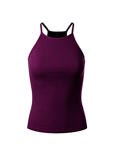 (Instar Mode Women's Basic High Neck Ribbed Tank Top Grape L)