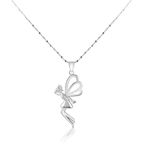 Alice Yan Jewelry Fairy Angel Wing Cross Necklace for Women 14K White Gold Over Sterling Silver (Fairy 18