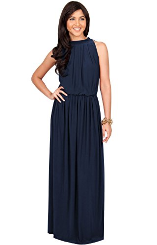 KOH KOH Plus Size Womens Long Sexy Sleeveless Bridesmaid Halter Neck Wedding Guest Summer Flowy Casual Brides Formal Evening Gown Gowns Maxi Dress Dresses for Women, Navy Blue 2X 18-20 (3)