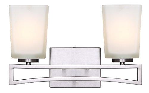 Canarm LTD IVL471A02BN Alexa 2 Light Vanity, Brushed Nickel with Flat Opal Glass