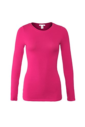 Bozzolo Women's RT1200 Basic Round Neck Long Sleeve T Shirt Top D.Fuchsia L