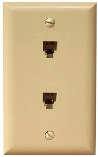 Morris 87020 Midsize Dual RJ11 4 Conductor Phone Jack Wall Plate, ()
