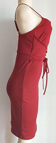 Dress Bodycon Wine Women's Jaycargogo Red Neck Slim Straps Cocktail Sling V f8FwqOCTY