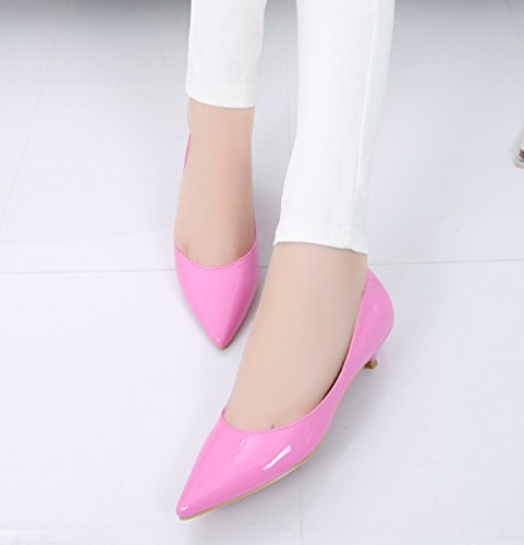 Lackleder Pumps aus Slip Absatz Wildleder Leder Niedriger Pumps Pumps Kitty aus On Damen PU Lackleder Katypeny oder Spitz BwZqx6Hnz