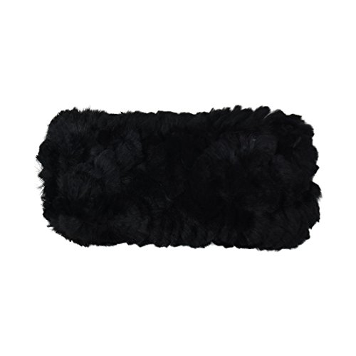 Reversable Fur - Black Reversable Rabbit Fur/Cable Knit Kids Ear Muffler Head Wrap - Medium