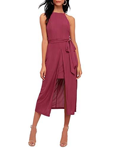 BMJL Women's Elegant Halter Dress Sleeveless Sundress Split Tank High Low Midi ()