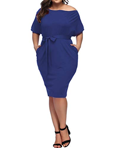 ORICSSON Women Plus Size Casual Short Sleeve Party Bodycon Sheath Belted Dress with Pockets