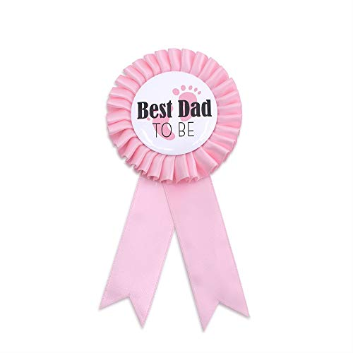 quotBest Dad to bequot Tinplate Badge Pin  Baby Shower Party Buttons New Dad Gifts Gender Reveals Party Favors Baby Girl Pink Rosette Button Baby Celebration Light Pink