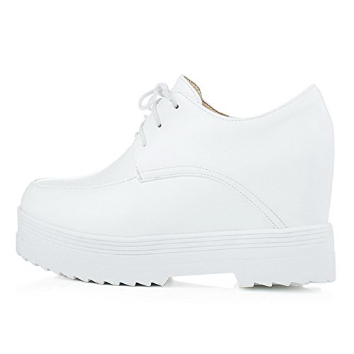 up Bows Lace Pumps White Womens High Soft Round Closed AllhqFashion Shoes With Toe Material Heels O8zq1B