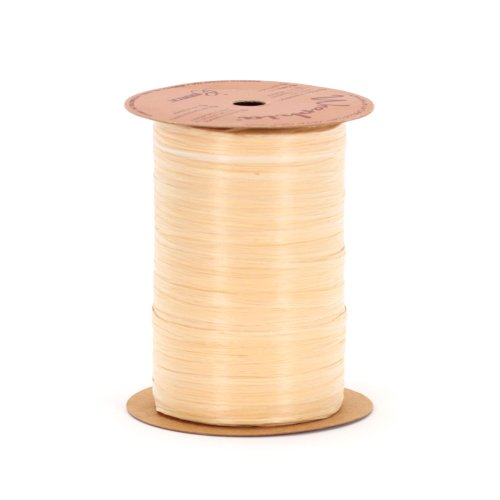 Berwick Craft Matte 1/4'' Wide Raffia Ribbon, Oatmeal Brown, 100 Yards