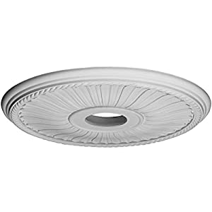 Ekena Millwork CM20BE1 Berkshire Ceiling Medallion, 20 1/8″OD x 3 7/8″ID x 1 7/8″P (Fits Canopies up to 6 3/8″), Factory Primed