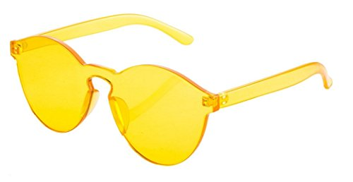 My Shades - Transparent Solid Color Retro Round Sunglasses - Shades Glasses Yellow