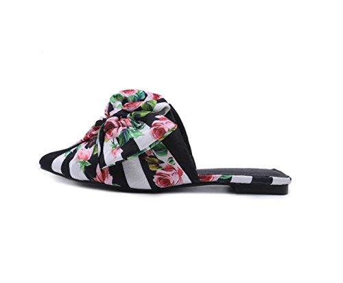 Dedo del los Las Sandalias la del Flip Arco pie Abierto de la caseros del para y Calzan Zapatos Flor para señoras Moda del Flops Verano Mujer Las Zapatillas Rojo DANDANJIE de T1qR6wq
