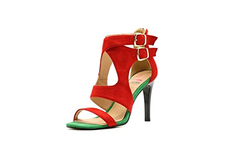Multi Colored High Heel (Shoebox Kicks Multi-Colored Gladiator High Heels (7, Red))