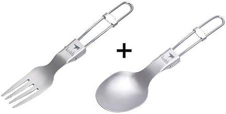 Tenedor cuchara cubiertos Camping plegable titanio ...