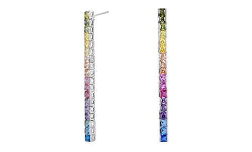 Earrings Brass Plated Rhodium - NYC Sterling Cubic Zirconia 3MM Princess Rainbow Drop Earrings (Rhodium-Plated-Brass)