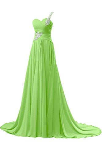 A Elegant Schulter Schleppe Festkleid Ein Grün Linie Chiffon Ballkleid Bride Lang Gorgeous Abendkleid OCwqAA