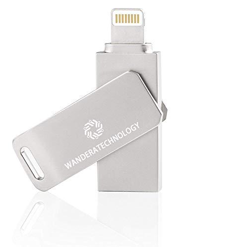 [App Upgraded] 64GB iPhone USB Flash Drive, iOS Memory Stick, iPad External Storage Expansion for iOS Android PC Laptops (Silver Rotatable)