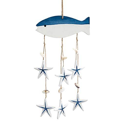 NUOBESTY Nautische Ornamenten Houten Wind Klokken Decoratieve Windgong Nautische Wand Decor Voor de Kinderkamer…