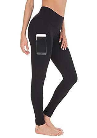 QUEENIEKE Women Yoga Leggings Power Flex Mesh High Waist 3 Phone Pocket Gym Running Tights(S, Black Side Pockets)