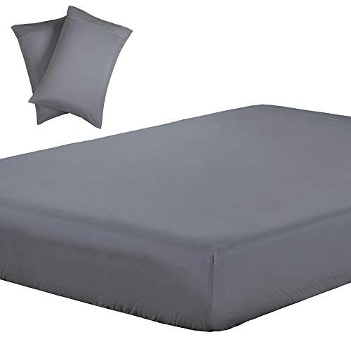 Vaulia Lightweight Soft Microfiber Sheets, Grey Color King Size, 3-Piece Set (1 Fitted Sheet, 2 Pillowcases) (King Bed Sheets Fitted)
