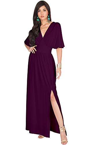 KOH KOH Womens Long Sexy Kimono Short Sleeve Slit Split V-Neck Party Cocktail Evening Bridesmaid Wedding Guest Sun Gown Gowns Maxi Dress Dresses for Women, Maroon Wine Red L 12-14