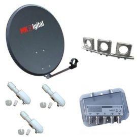 MK Digital 80 cm SAT-antena Alu + Soporte{3} universal Multi ...