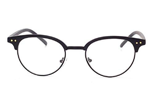 Unisex JTS1813 Plastic Half-frame Metal Rim Studded Browline Eyeglasses (Matte black, - Glasses Prescription Browline
